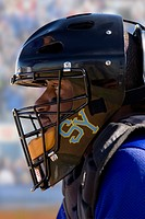 Close up of lacrosse player wearing helmet