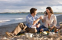Couple toasting champagne on beach (thumbnail)