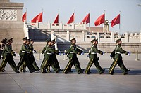March of armed police at Tiananmen, Beijing, China