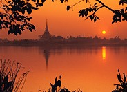 Silhouette sunset view at river, Wat Nong Wang Khon Kaen, Thailand