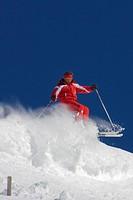 Skier at Wildkogel, Neukirchen, Pinzgau, Salzburger Land, Austria, alps