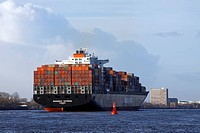 Containership ´Savannah Express´, leaving Hamburg harbour, river Elbe, Hamburg, Germany, Hapag_Lloyd