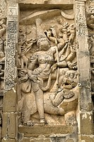 Goddess Durga sculpture in  Kailasanatha temple in Kanchipuram, Tamil Nadu, India. The temple  was built by Pallava King Narasimhavarman II (Rajasimha...