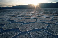 Salt crust on salt lake, Bad Water, Death Valley national park, California, USA