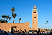 Minaret with palm trees Koutoubia mosque Marrakech Morocco