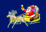 Santa Claus sitting in his sleigh flying with reindeer