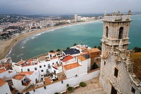 View from the fortress to the church and beach of Peniscola, Costa Azahar, Spain, Europe
