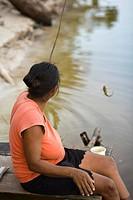 Woman Fishing, Boa Esperança Community, Cuieiras River, Amazônia, Manaus, Amazonas, Brazil