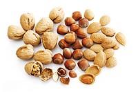 Mixed nuts: walnuts, hazelnuts and almonds