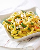 Home_made fettuccine with vegetables and crabmeat