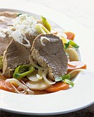 Boiled beef with root vegetables and horseradish