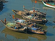 Colorful Fishing boats at traditional harbor  Diwe aagar, Maharashtra, India