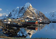 Winter landscape, Reine fishing village, Lofoten Archipelago, Norway, Scandinavia