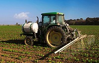 Agriculture _ A tractor with a sprayer attachment applies insecticide and/or fungicide to an early growth crop of Romaine lettuce / CA _ Salinas Valle...