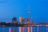 Skyline of Toronto at dusk seen from Ontario Place, Toronto, Ontario, Canada