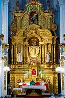 Ecuador. Guayaquil city. City center. Church of  La Merced (minor basilica). Colonial art. Baroque altarpiece in gold leaf