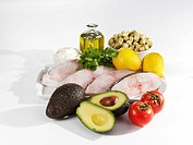 Ingredients for halibut with avocado