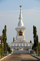 Buddhist Stupa as a cenotaph adorned with a communist star, Vientiane, Laos, Asia