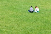 Young couple sitting side by side on lawn, rear view