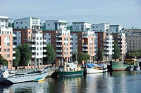 Sweden, Sodermanland, Stockholm, waterfront apartment buildings