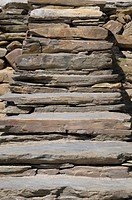 The detail of the old stone steps