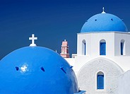 Blue dome and bell tower of a church, Oia, Santorin, Santorini, Cyclades, Greece, Europe