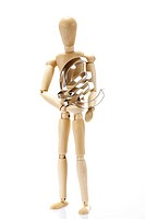Wooden jointed figure holding a euro shape