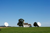 Radar facility, Raisting radar dome with St. Johann's Chapel, Pfaffenwinkel, Upper Bavaria, Germany, Europe