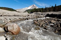 White River Gorge with Mount Hood volcano, Cascade Range, Oregon, USA