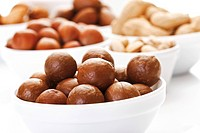 Assorted nuts in ceramic bowls, macadamia nuts, walnuts, peanuts, hazelnuts, almonds, pecans, pistachios