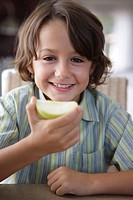 Boy, smiling, apple, eating, portrait, broached, ,