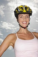 Woman, smiling, bicycle helmet, standing, portrait, ,