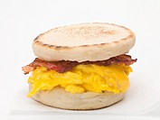 English muffin filled with bacon, scrambled egg and cheese