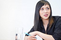 portrait of asian woman having a conversation in business meeting