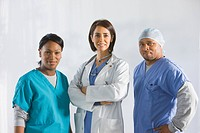 Doctors standing in medical clothing