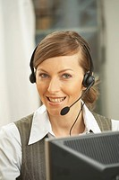 portrait of female call center agent