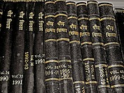 Books of adult education, journals are arranged in library racks of Bhopal university Bhopal, Madhya pradesh, India