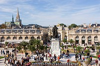 Tourists at memorial, Place Stanislas, Nancy, Meurthe et Moselle, France