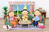 Illustration of family birthday party