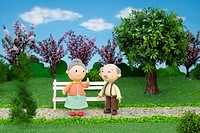 Illustration of old couple in the park