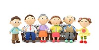 Illustration of grandfather, grandmother, father,mother,girl,boy