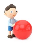 Illustration of a boy with a red big ball