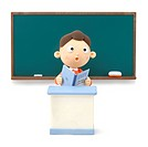 Illustration of a boy reading the book in front of the blackboard