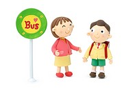 Illustration of mother and boy at bus stop