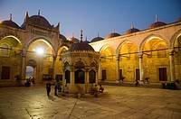 Interior view of Yeni Mosque courtyard Eminönü district Istanbul Turkey