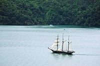 The Spirit of New Zealand sailing through the Marlborough Sounds South Island, New Zealand