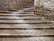 Rain and stairs in old town, Girona. Catalonia, Spain