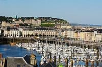 Harbour, view on castle, Dieppe, Seine_Maritime, Haute_Normandie, France