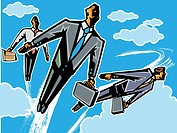 Floating business people in the sky