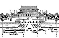 Vehicles on road by pagoda